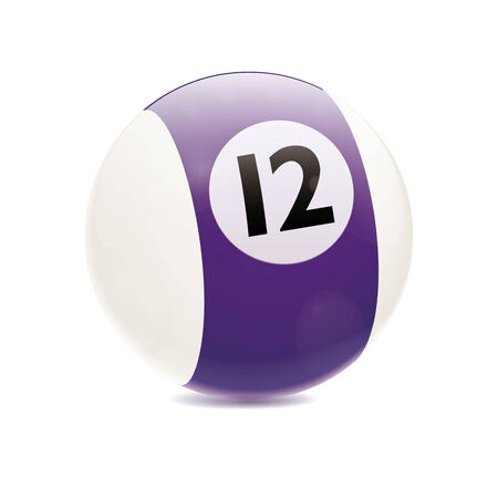 cue sports: Detailed vector illustration of purple number 12 cue sports ball isolated on white