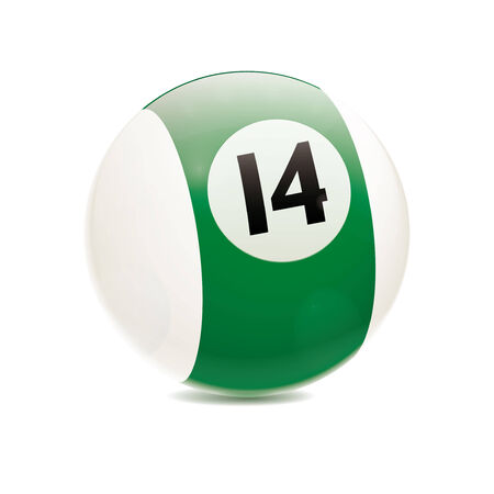 cue sports: Detailed vector illustration of green number 14 cue sports ball isolated on white Illustration