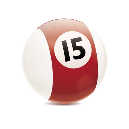 fifteen: Detailed vector illustration of brown number 15 cue sports ball isolated on white