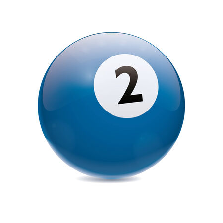 cue sports: Detailed vector illustration of blue number 2 cue sports ball isolated on white