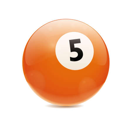 Detailed vector illustration of orange number 5 cue sports ball isolated on white Vector