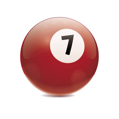Detailed vector illustration of brown number 7 cue sports ball isolated on white Vector