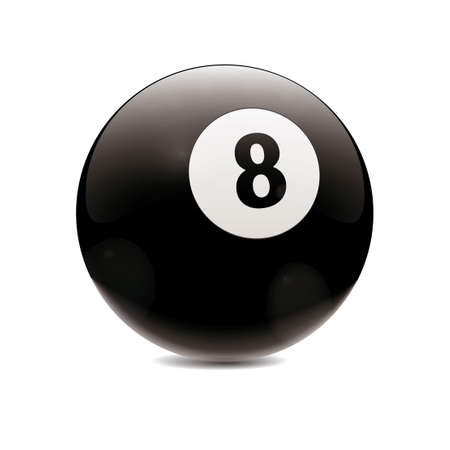 cue sports: Detailed vector illustration of black number 8 cue sports ball isolated on white