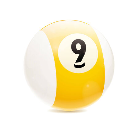 9 ball: Detailed vector illustration of yellow number 9 cue sports ball isolated on white Illustration