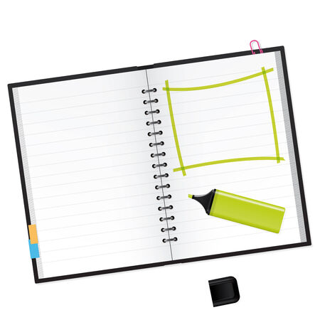 text marker: Scrapbook with green text marker Vector Illustration