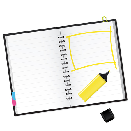 text marker: Scrapbook with yellow text marker Vector Illustration Illustration