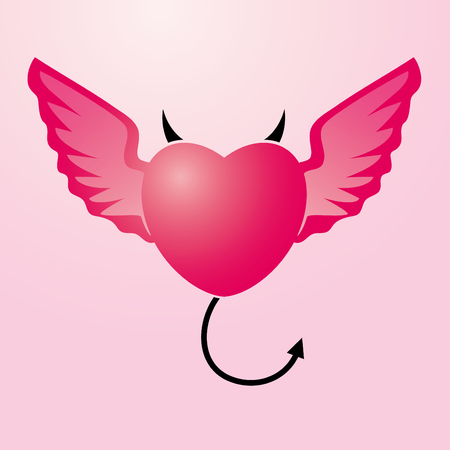 Vector Illustration of heart with angel s wings and devil s horns and tail