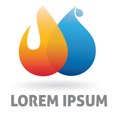 Heating and plumbing logo design template Illustration
