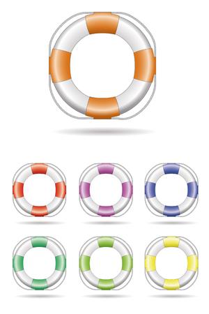 lifebelt: Vector Illustration of Lifebelt, seven color variations