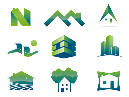 Real Estate Vector Symbols  Set of nine stylish realty and construction icons, easily editable with global color swatches  Vector