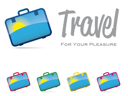 conceptual symbol: Glossy suitcase with sunrise icon, conceptual symbol for travel  Set with five colors  Illustration