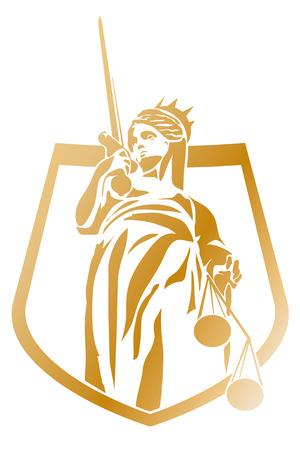 dama de la justicia: Escudo de armas del símbolo Vector Lady Justice