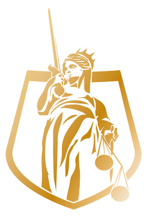 scale of justice: Lady Justice Coat of Arms Vector Symbol  Illustration