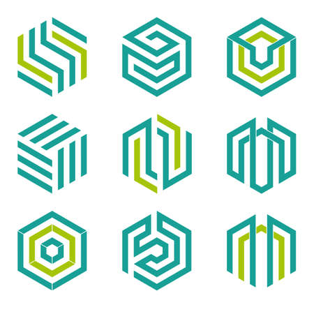 shape: Set of nine abstract hexagon shaped vector symbols