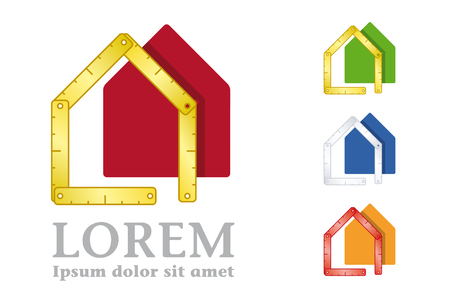 Yardstick and house company logo Vector