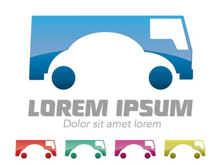 Autovermietung, Autohändler Firma Vektor-Logo-Design-Vorlage Vektor-Illustration von Auto und Lieferwagen Logo