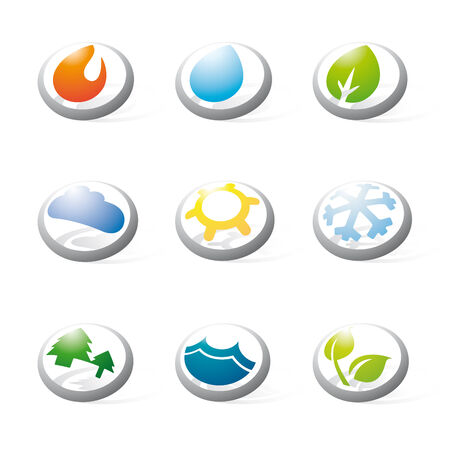 environmental issues: Collection of nine three-dimensional circular icons related to nature, weather, energy and environmental issues