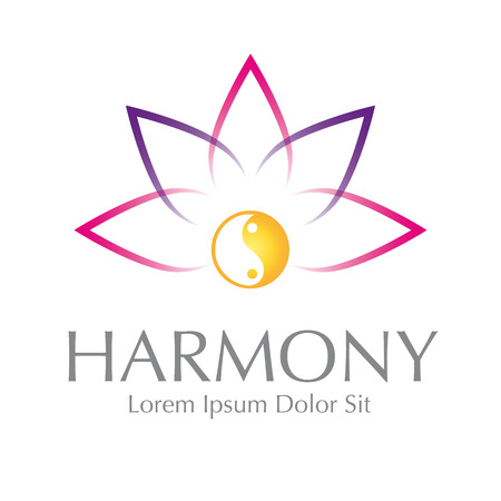 harmony with nature: Astratto Lotus Yin Yang Harmony Symbol Vector Design Element