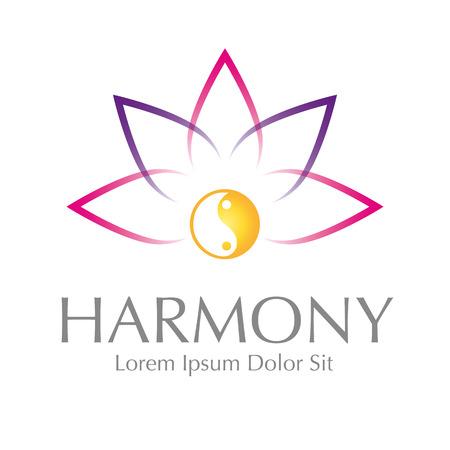 Abstract Lotus Yin Yang Harmony Symbol Vector Design Element