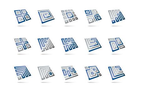 levitating: Set of 15 abstract 3d design elements, glossy square shapes levitating Illustration