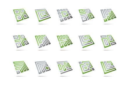 levitating: Set of 15 abstract design elements, glossy square shapes levitating