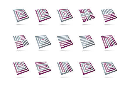 levitating: 15 abstract 3d design elements, glossy square shapes levitating, second  set, grey and purple