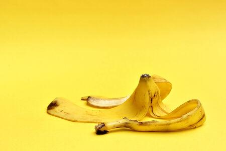 banana peel: banana peel on yellow background