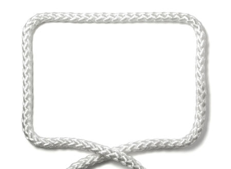 frame laid off white nylon rope isolated