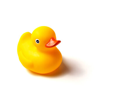 rubber ducky: yellow rubber ducky, white background