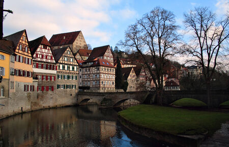 framework constructed houses at the river Kocher, Schw�bisch Hall, Germany  photo