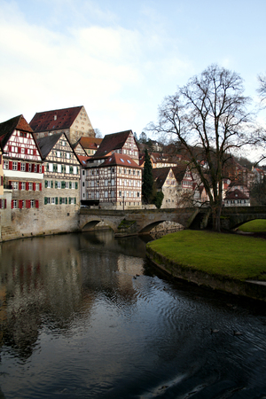 half-timbered houses at the river Kocher, Schw�bisch Hall, Germany  photo