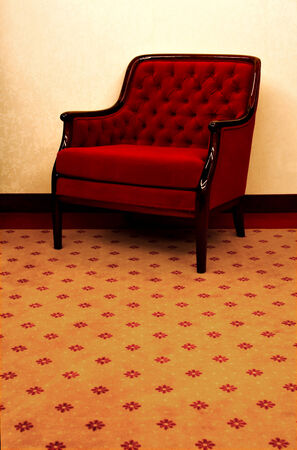commodious: lounge chair, upholstered with red velvet