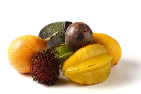 grenadilla: various tropical fruit - grenadilla, starfruit, avocado, lemon, maracuja, rambutan litchi Stock Photo