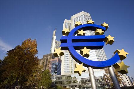 huge Euro sign in front of Eurotower, European Central Bank, Frankfurt