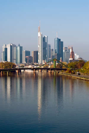 main river: skyscrapers of Frankfurt financial district, Main river in front Stock Photo