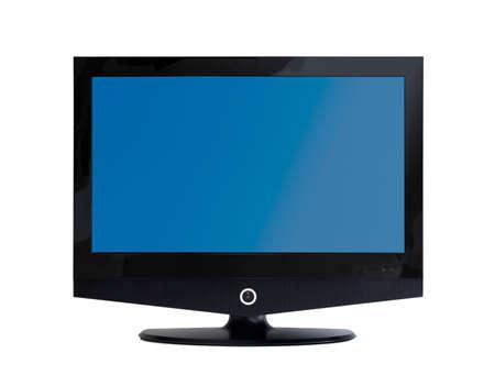 flatscreen: frontal view of flatscreen TV monitor isolated on white Stock Photo