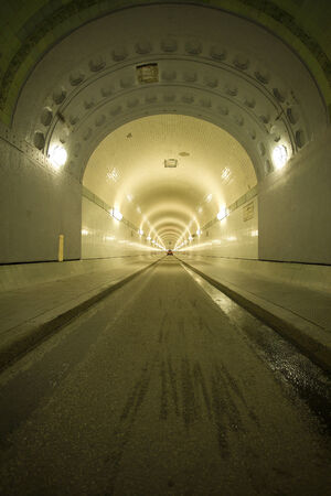 alter: right lane of old Elbe tunnel - Alter Elbtunnel - below the Elbe river at Hamburg St. Pauli