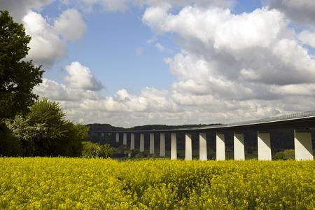 rhine westphalia: ruhr valley motorway bridge near Essen, GErmany