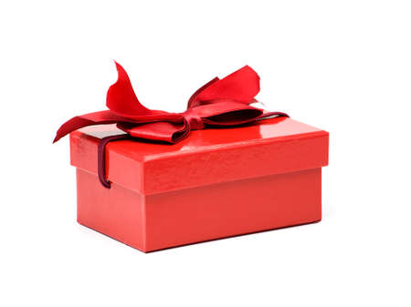 lacquered: red lacquered cardboard gift box with lanyard isolated on white Stock Photo