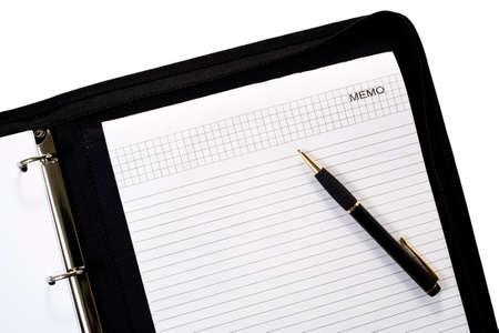 ballpen: ballpen on memopad inside business folder isolated Stock Photo