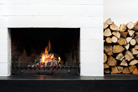 logwood: open fireplace and stacked logwood