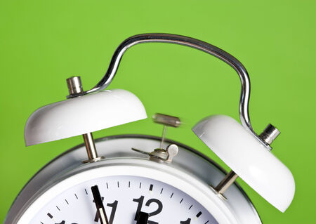 Classic Double Bell Alarm Clock Ringing At 5 Minutes To 12 Stock