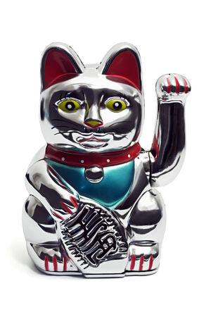 maneki neko: maneki neko asian luck bringing fortune cat figurine isolated on white Stock Photo