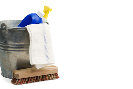 scrubber: bucket, rug, scrubber, detergents isolated on white Stock Photo