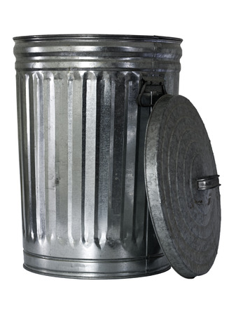 opened trashcan, top standing besides photo