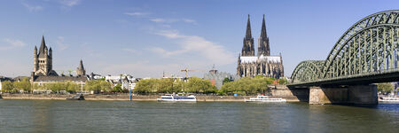 extra large: panoramic view of cologne from St. martin church to hohenzollernbridge with cathedral, extra large
