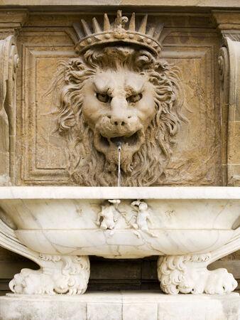 sculpted: fontein in het Palazzo Pitti, Florence, gebeeldhouwd als hoofd van een leeuw met een marmeren wastafel Stockfoto