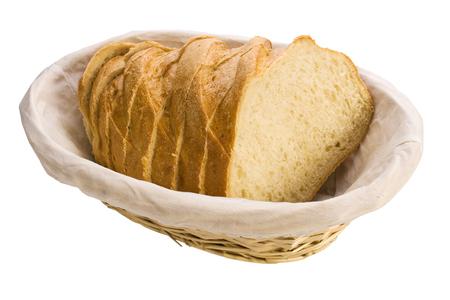 pain blanc: tranches de pain blanc dans le panier, isol� Banque d'images