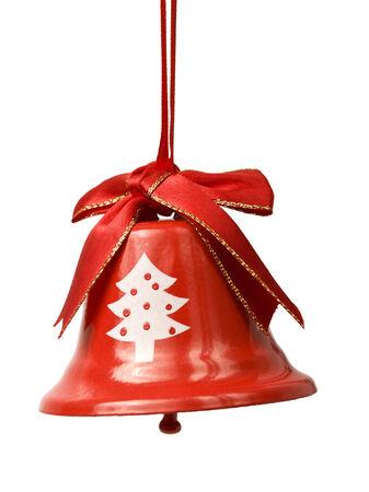 campanas de navidad: campana de navidad roja con el símbolo del árbol aislado en blanco