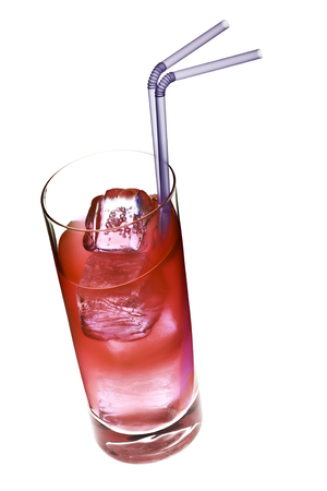 tilted view: red longdrink in slanted glass with straws isolated on white, tilted view